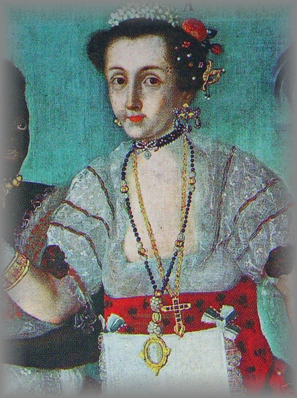 PORTRAITS OF PERIOD LADIES: Wearing ornamental rosaries