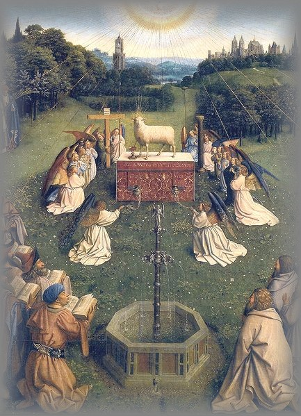 'ADORATION of the LAMB' - Jan van Eyck - 1431 (Ghent Altarpiece)