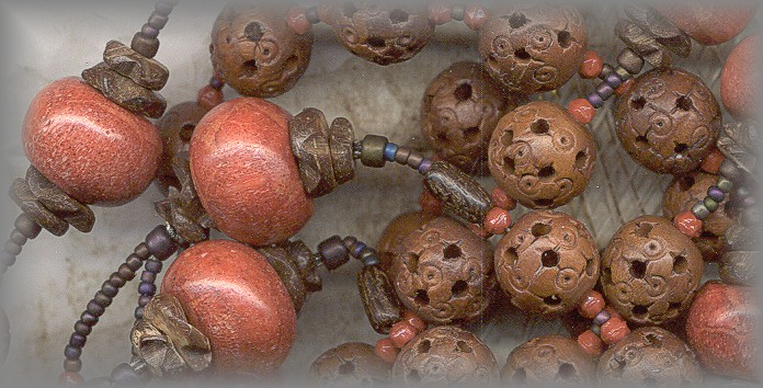 CHAPLET: pierced wood beads