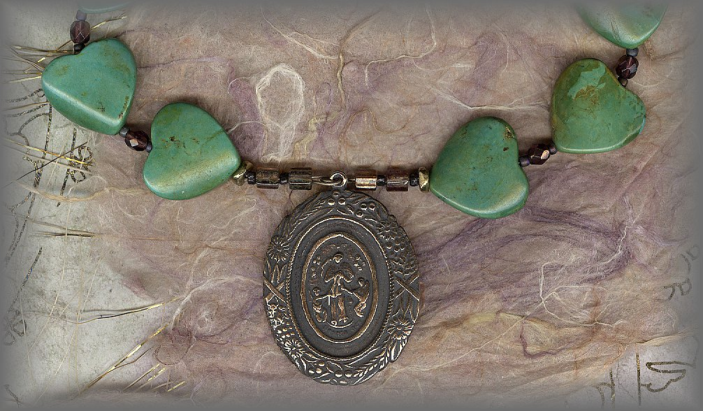 CHAPLET: Hearts carved from Turquoise