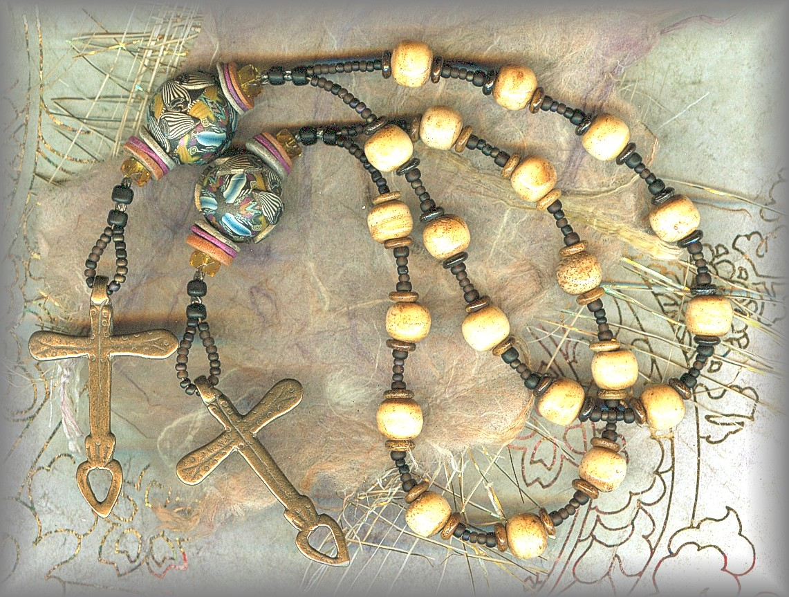 CHAPLET: bone and hand made bead by Klews