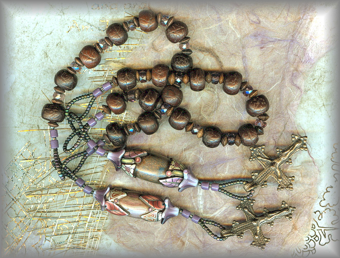 CHAPLET: bodhi seed beads with Klews Bead