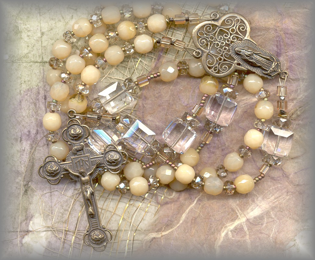 ROSARY BEADS (antique beads with Guadalupe center cast from antique)