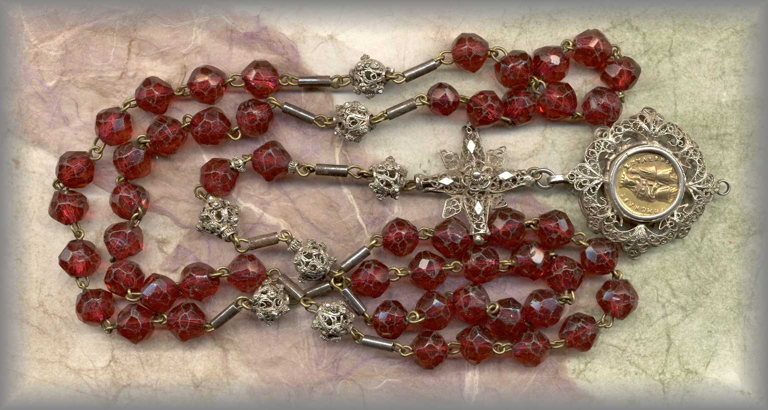 ANTIQUE ROSARY: 19c faceted red glass filigree - Bavaria