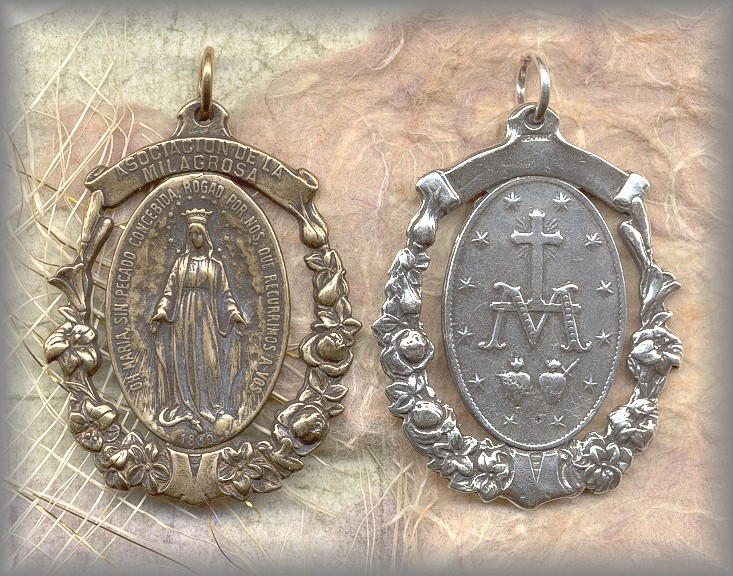 ANTIQUE MIRACULOUS MEDAL in sterling or solid bronze