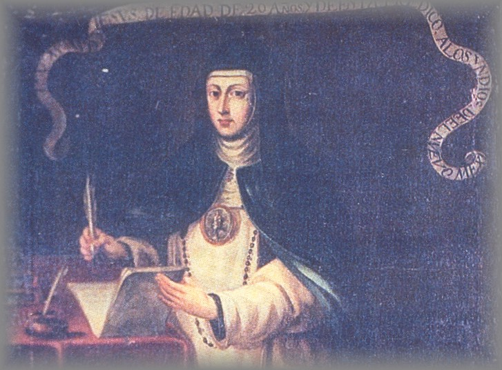 SOR MARIA AGREDA - early painting wearing rosary and medallion