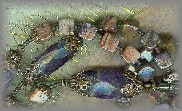 ROSARIES: rare crazy lace agate, hand faceted