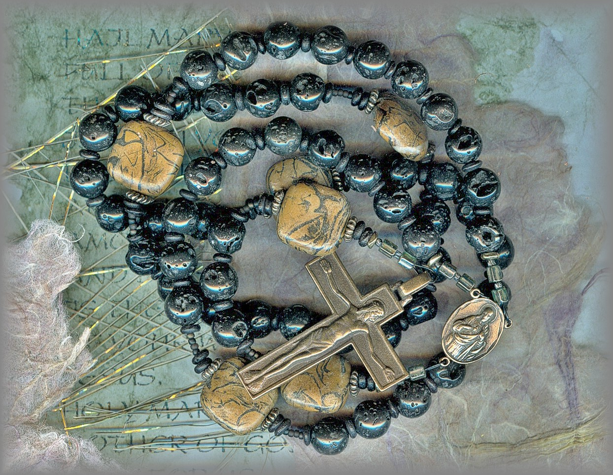 ROSARIES: Full image of tourmaline rosary with faceted Ave's