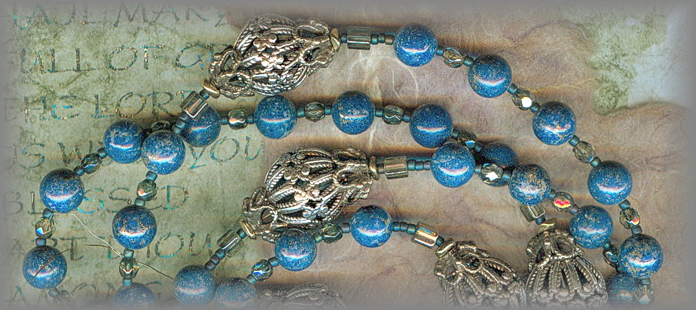 ROSARY - fine Lapis with carved wood Paters