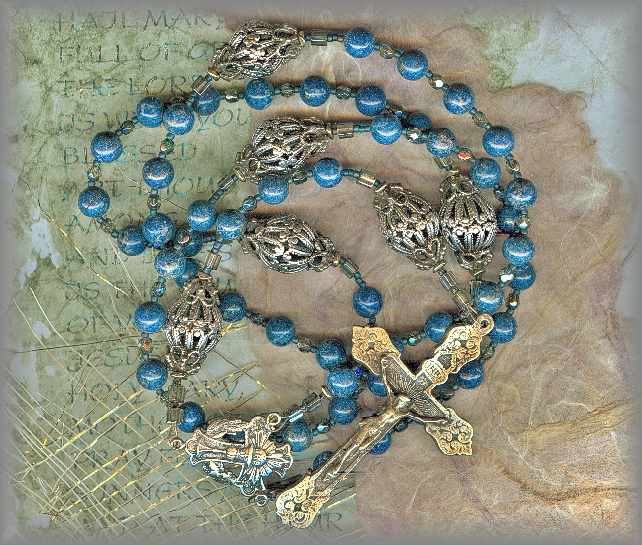 ROSARY - beautiful hand cast metals from antiques