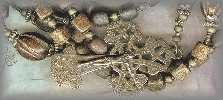 PENAL ROSARY: horn  / Celtic Knot Crucifix - RIPR.2710