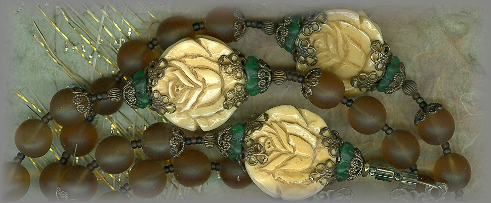 ROSARY: '8 window' pressed glass ave beads (CZ)