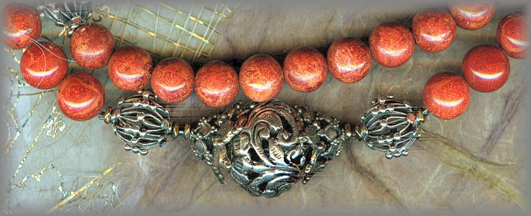 ROSARY: Silver filigree Pater beads, coral root Aves