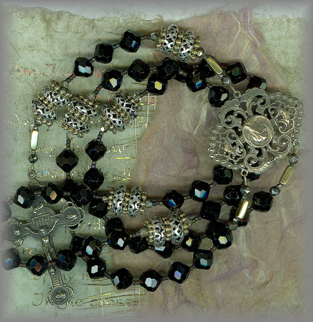 GROOM'S ROSARY: Black faceted 'gem cuts'