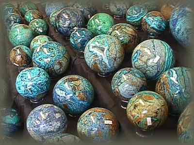Like big blue marbles, these balls range from 2in to 8in across -
