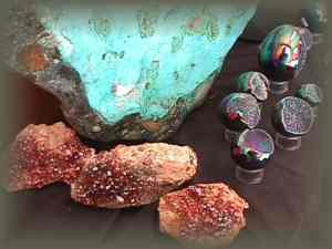 Rust Vanadinite, Amethyst geodes, Blue Chrysocolla-Malachite (AZ)